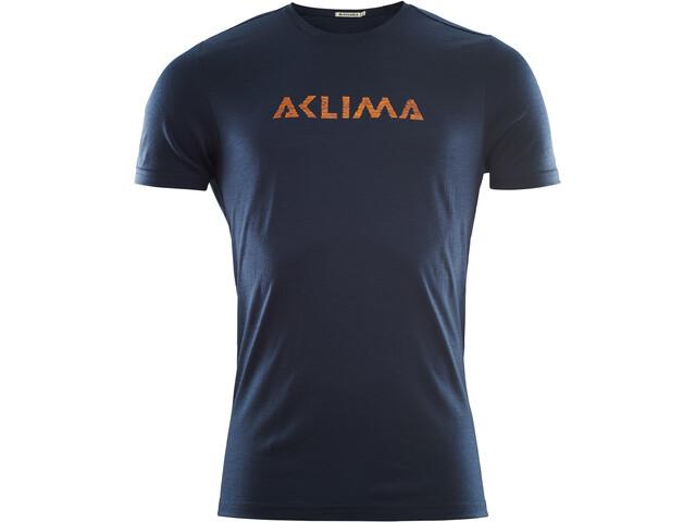 Aclima LightWool Logo T-Shirt Men, navy blazer